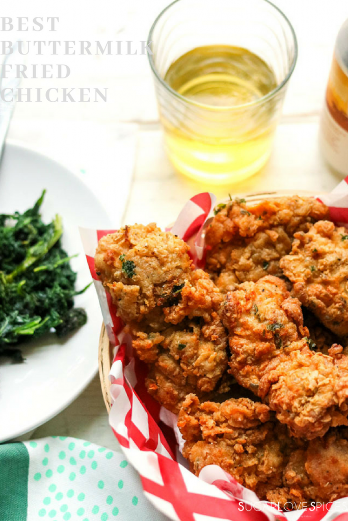 best buttermilk fried chicken-complete meal with greens
