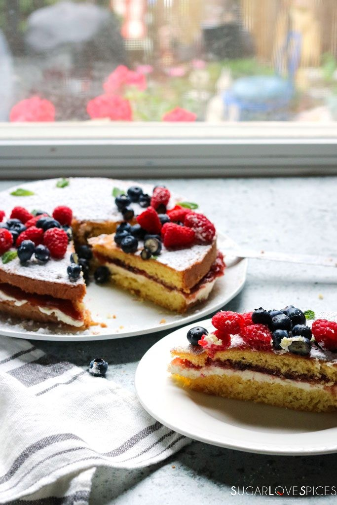 Torta Paradiso with Summer Berries and Jam-window