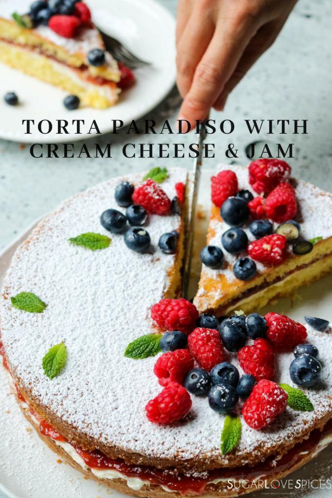 Torta Paradiso with cream cheese & Jam