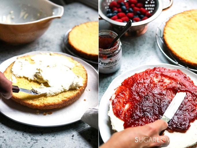 Torta Paradiso with Summer berries, Mascarpone and Jam