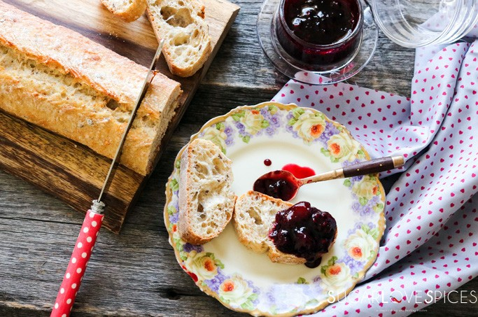 Blackberry Peach Ginger Jam-onbread