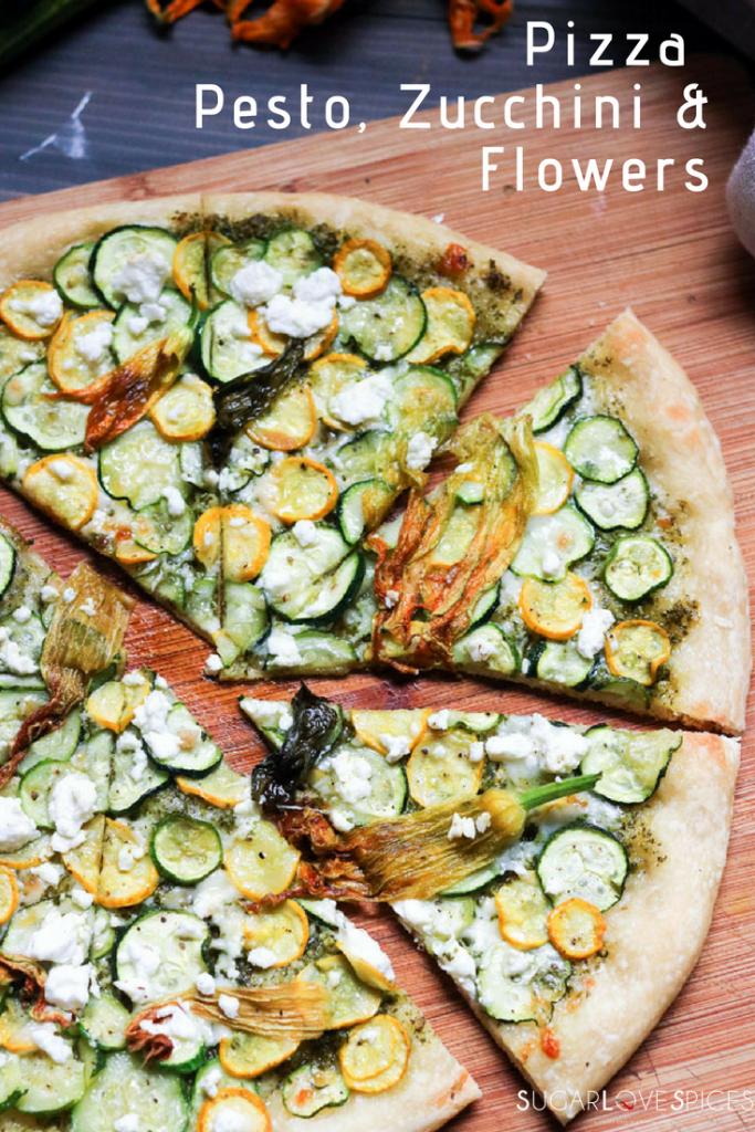 Pizza Pesto, Zucchini & Flowers