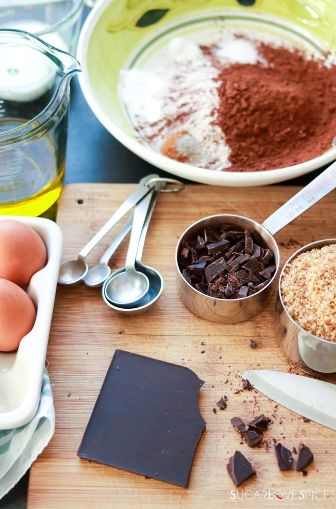 Double chocolate zucchini spelt loaf