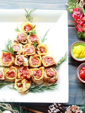 Party Pleaser Italian Sausage Rolls-christmas tree shape
