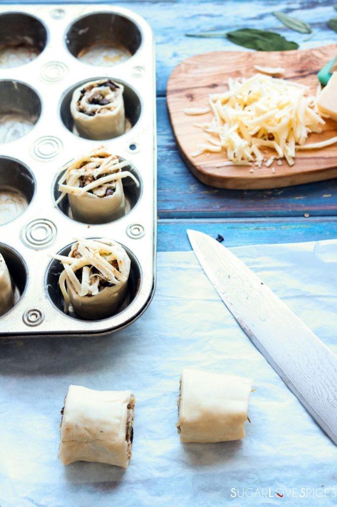 Pork and mushroom puff pastry rolls