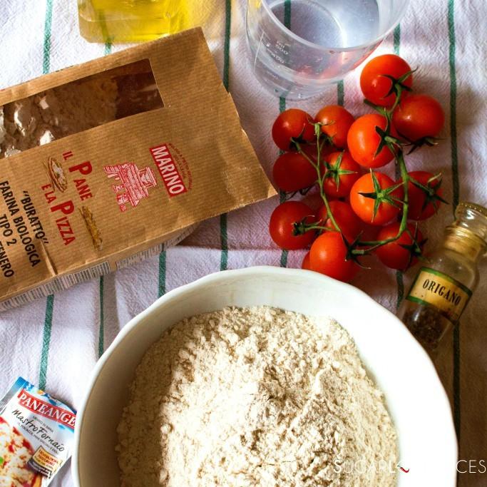 Focaccia with Cherry tomatoes and oregano