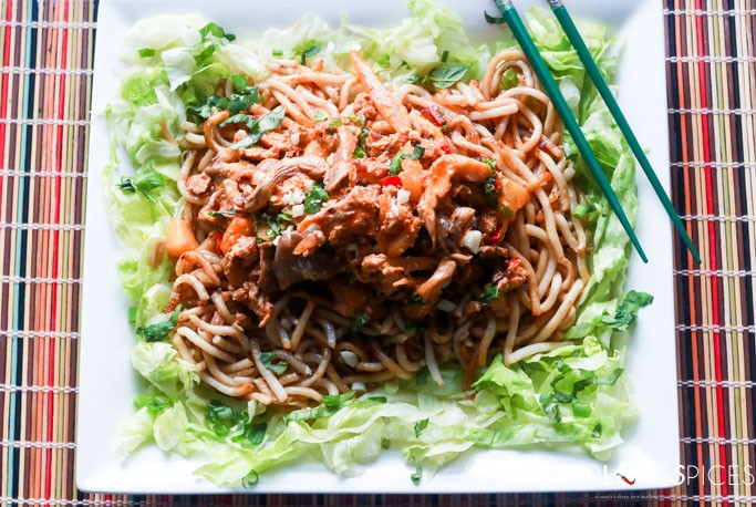 Oyster Mushroom & Chicken Red Curry Noodle