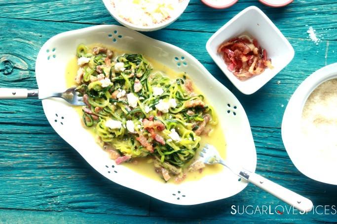 Keto zucchini noodle carbonara