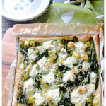 Broccolini and Potato Butter Pastry Tart-text on picture