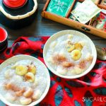 Cambodian Tapioca Banana Pudding-bowls on the table with teapot view from the top
