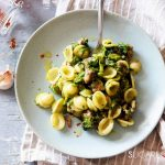Orecchiette with Rapini and Sausage,in the plate with fork