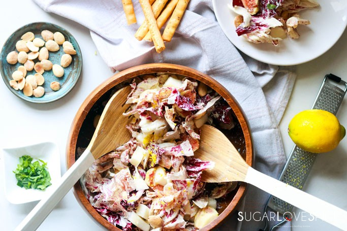 Radicchio pear fig salad with mascarpone dressing-with grissini