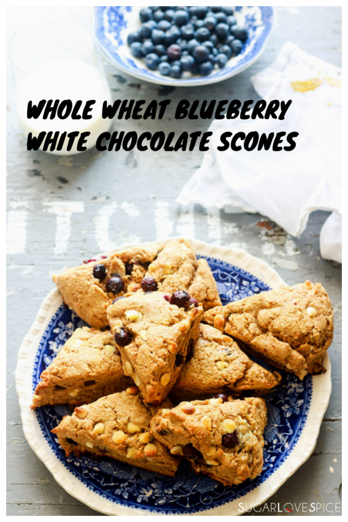 Whole Wheat Blueberry White Chocolate Scones-view from the top-text on picture