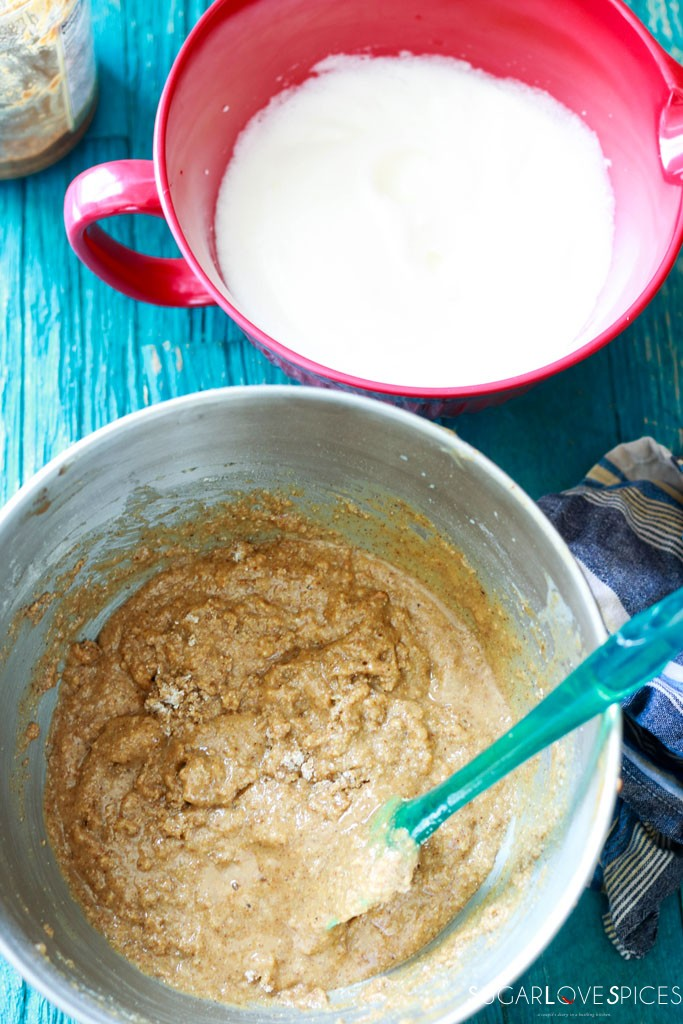 almond butter and jam rye bread- batter and whipped egg whites