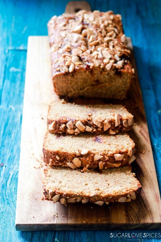 almond butter and jam rye bread-bread slices front view
