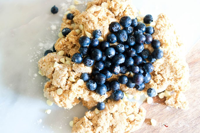Whole Wheat Blueberry White Chocolate Scones-mixing the dough
