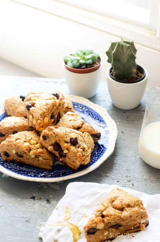 Whole Wheat Blueberry White Chocolate Scones-scones and window