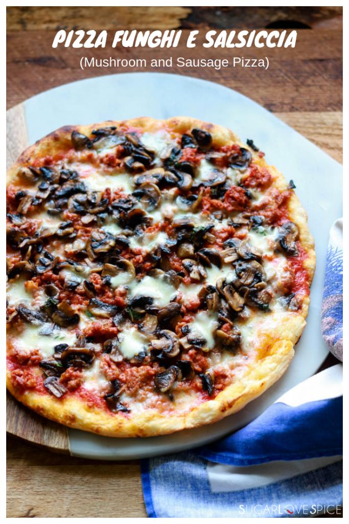 pizza funghi e salsiccia-pizza on the marble board, text on picture