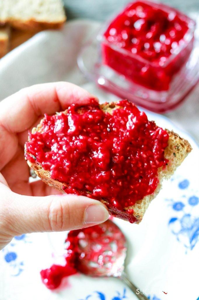 3-Ingredient Easy Raspberry Jam (No Added Pectin) -jam on bread