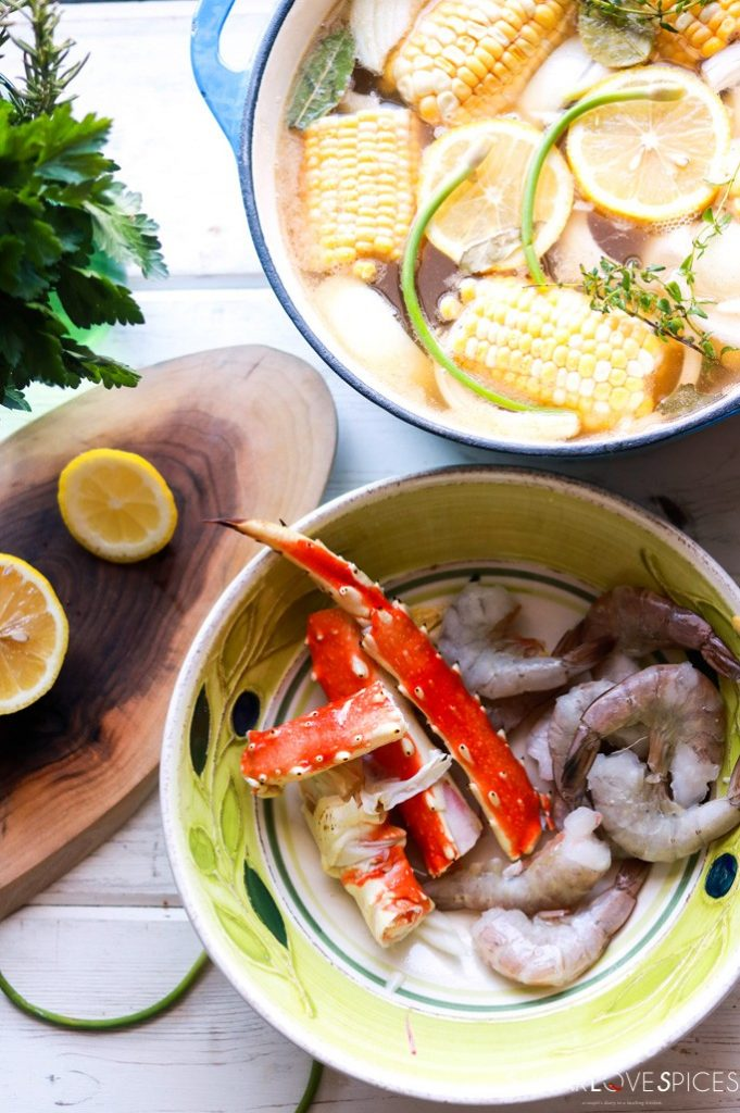 Crab and Shrimp Boil-prepping the corn