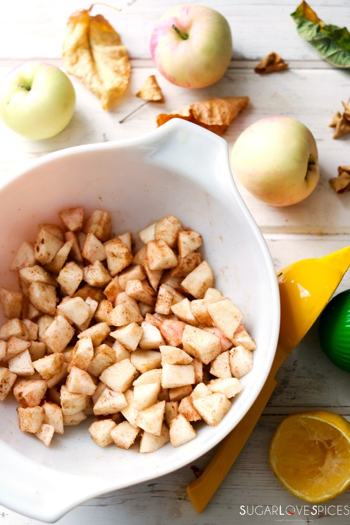 Homemade Apple Hand Pies-dressing the apples in a bowl