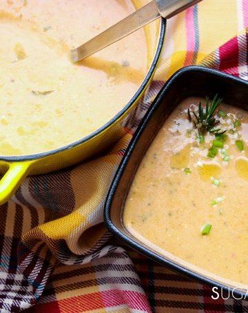 Cream of Kohlrabi and Potato Soup-pot and one bow on towell