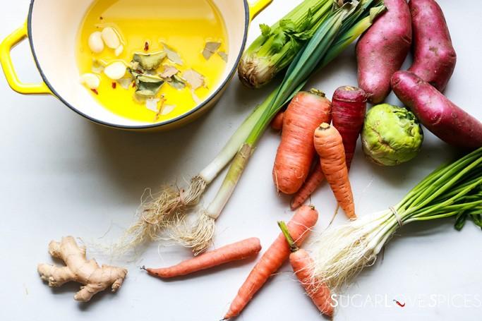 Cream of Kohlrabi and Potato Soup-starting the soup