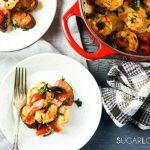 Homestyle Portuguese Shrimp and Chorizo-2 plates, foks and the pan