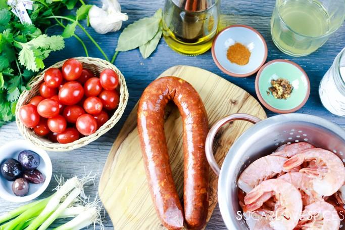 Homestyle Portuguese Shrimp and Chorizo-ingredients