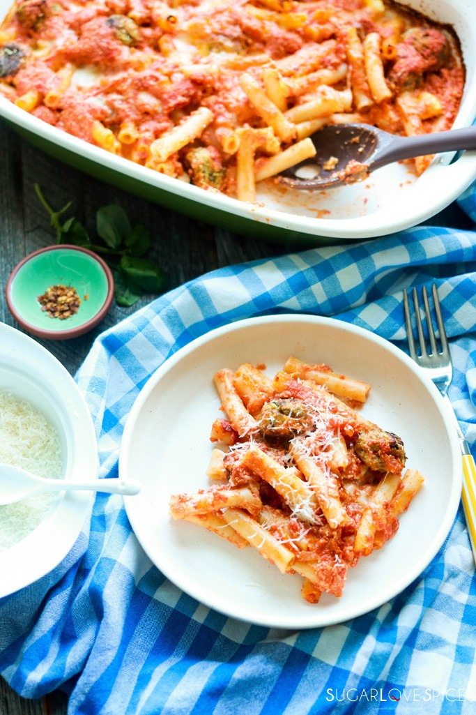 Italian Baked Ziti-in the pan and one serving in the plate