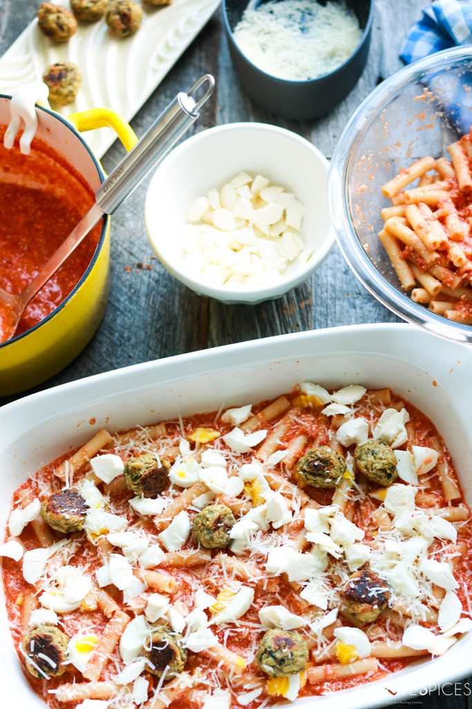 Italian Baked Ziti-prep before the oven