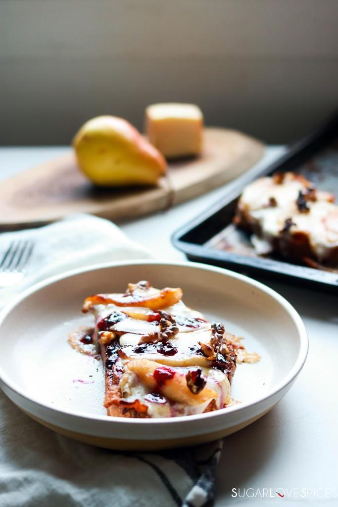 Pear Bacon and Taleggio Tartine-one tartine in the plate