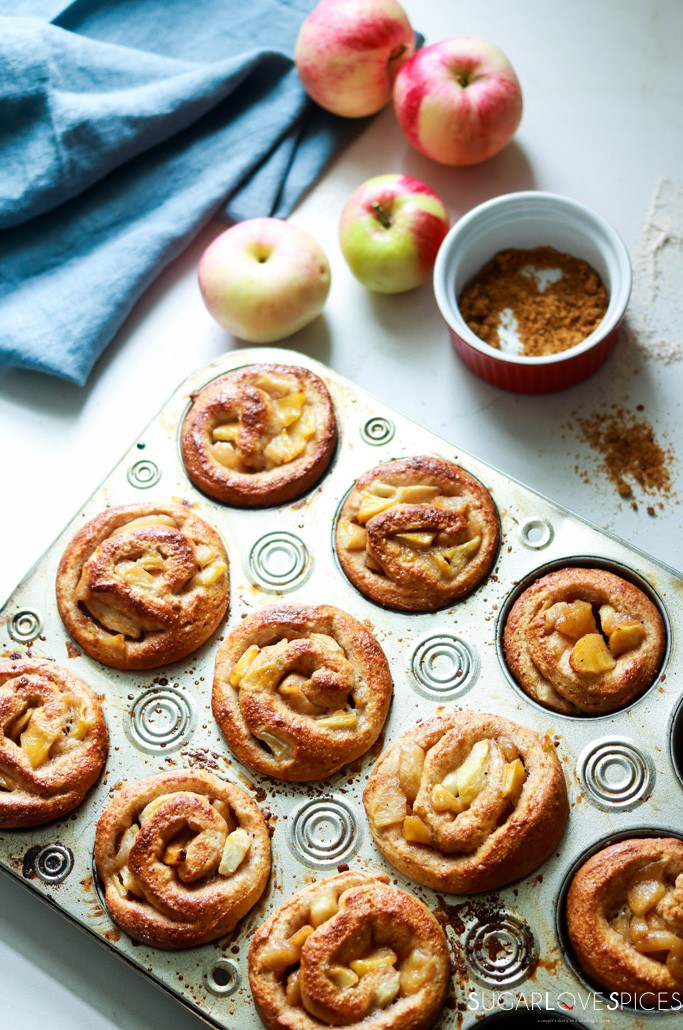 Salted Butter spiced apple brioche rolls-in the muffin pan