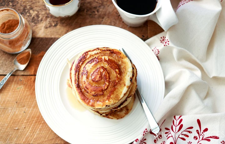 Cinnamon Swirl Pancakes-from the top