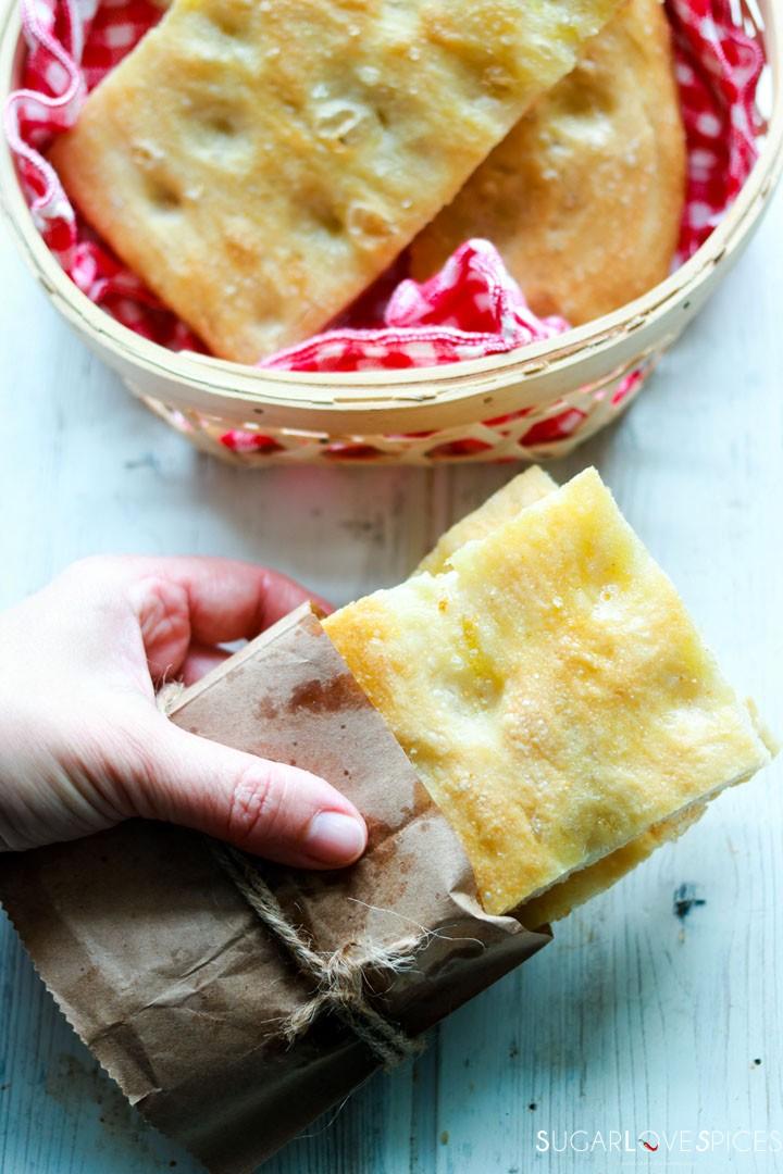 How to make Italian Focaccia Genovese-focaccia panino in my hand