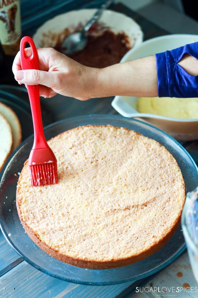 Zuppa Inglese with Amarula liquor, chocolate and custard-brushing Amarula liquor on bottom cake