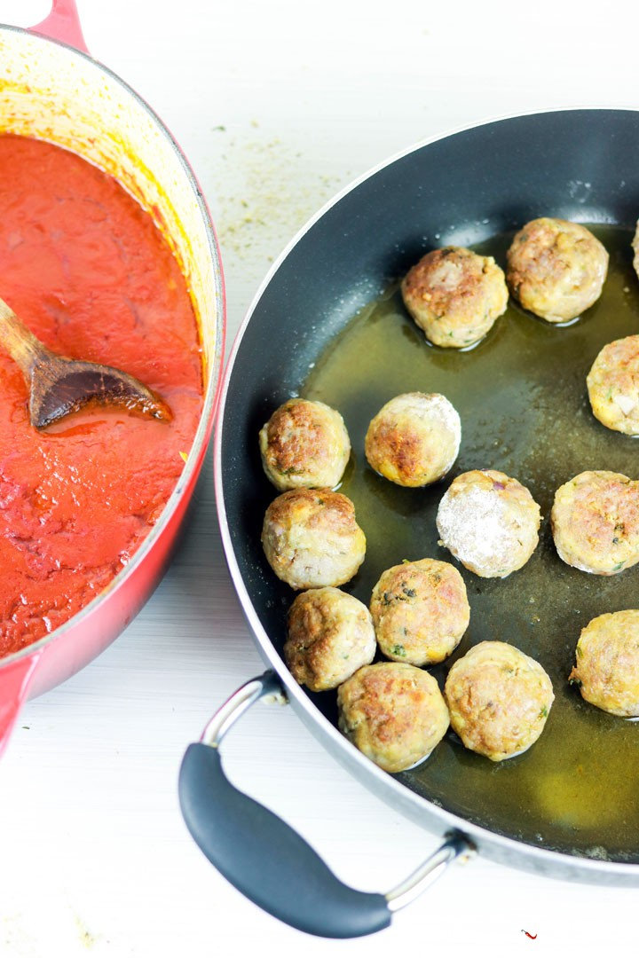 Albondigas, Spanish-style Meatballs-browning in the pan