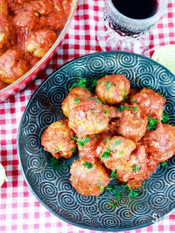 Albondigas, Spanish-style Meatballs-piled in the black plate