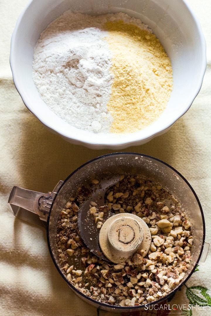 Hazelnut Sbrisolona Cake with Chocolate Spread-nuts and flours