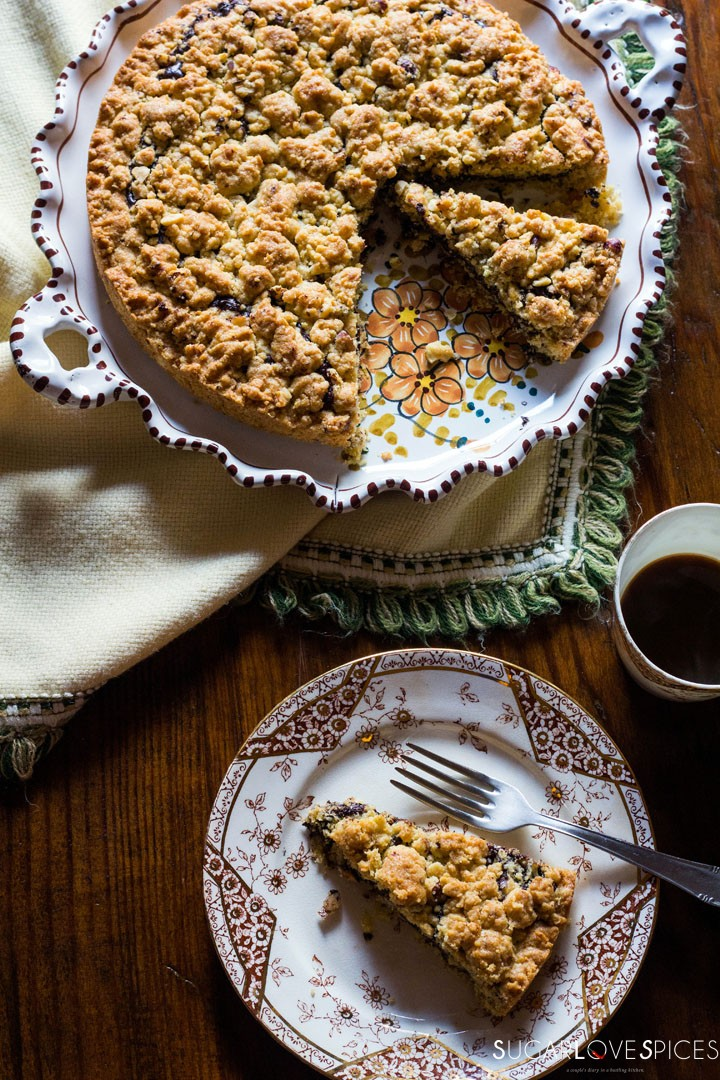 Hazelnut Sbrisolona Cake with Chocolate Spread-view from the top with coffee