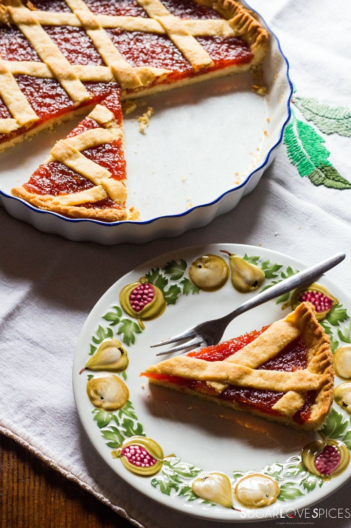Quince jam tart-slice in the plate