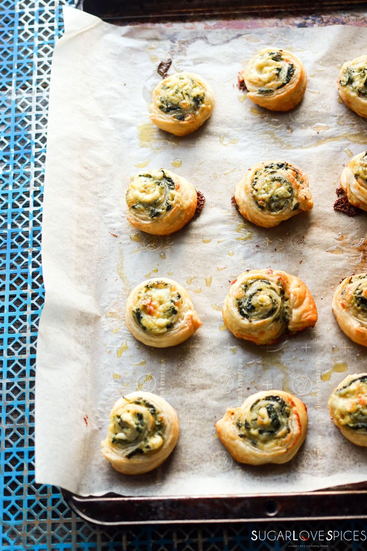 Spinach and Feta Pinwheels-in the pan out of the oven