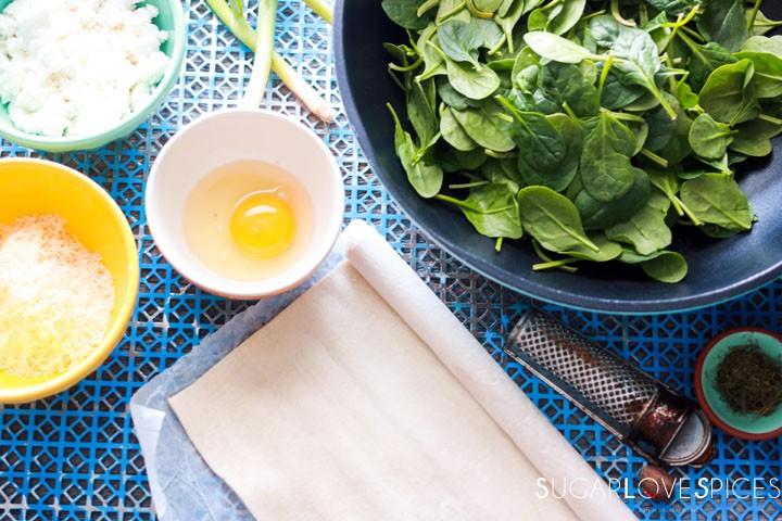 Spinach and Feta Pinwheels-ingredients