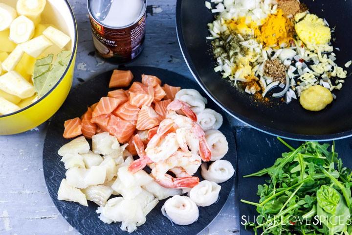 Crustless Curried Seafood Pie-ingredients