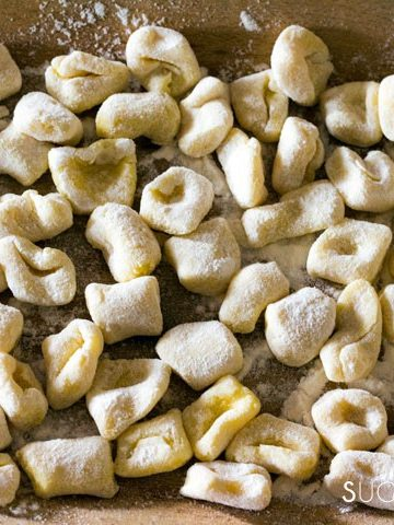 Homemade Potato Gnocchi-closeup gnocchi in wood basket