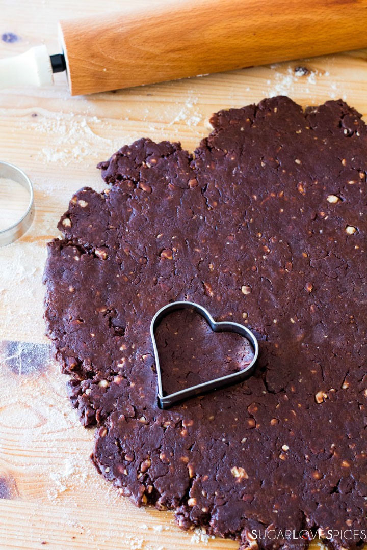 Olive oil spelt flour cookies with chocolate and hazelnuts-dough and heart shape