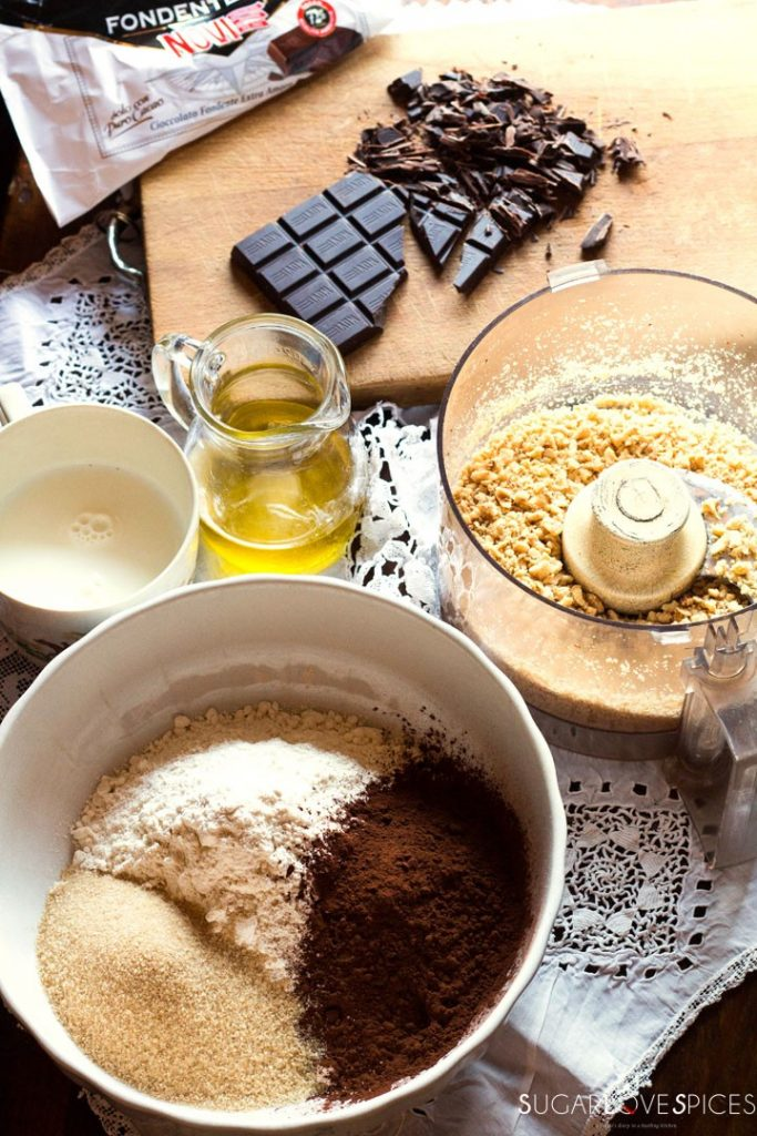 Olive oil spelt flour cookies with chocolate and hazelnuts-ingred