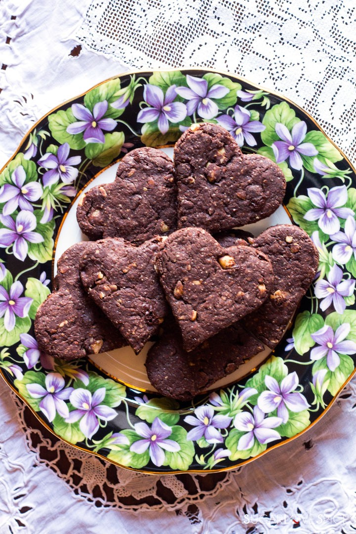Olive oil spelt flour cookies with chocolate and hazelnuts-plate
