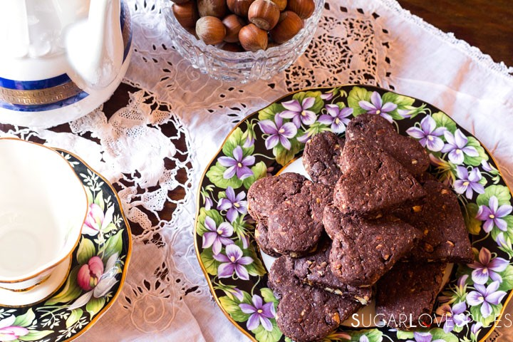 Olive oil spelt flour cookies with chocolate and hazelnuts-table set