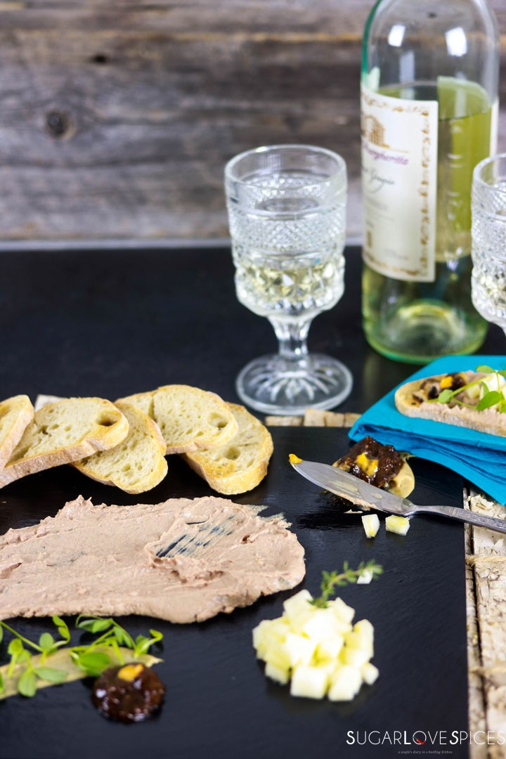 Chicken Liver Paté-on the board with wine
